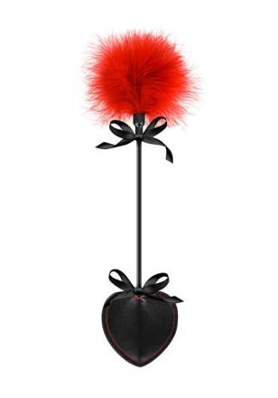 Coeur cravache et plume noire/rouge