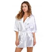 Kimono satin Blanc