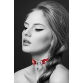Collier rouge ras de cou Cadenas COEUR argenté