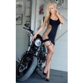 Ariadne bodystocking noir effet guêpière opaque et large résille
