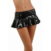 Mini jupe volant plissé Vinyle noir