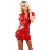 Robe chemisier vinyle rouge
