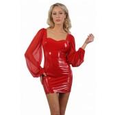 Robe moulante vinyle rouge manches bouffantes voile