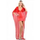 Robe rouge courte wetlook et longue au dos en micro résille
