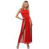 Robe longue rouge micro résille transparente