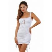 Robe opaque blanche liens fronçage cotés et décolleté