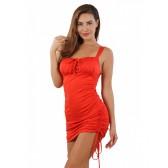 Robe opaque rouge liens fronçage cotés et décolleté