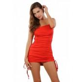 Robe opaque rouge liens fronçage cotés