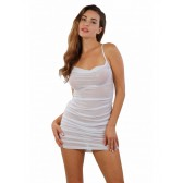 Robe blanche transparente froncée et dos nu