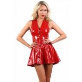 Robe mini évasée vinyle rouge