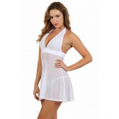 Robe blanche évasée transparent dos nu
