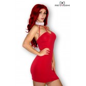 Clara Robe rouge avec ras de cou strass
