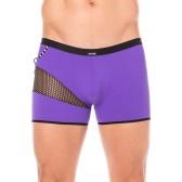 Boxer violet résille noire design coté