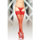 Bas Rouge résille avec couture jarretière dentelle pour Porte Jarretelles