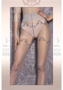 Collant Gris couture et fins motifs argent