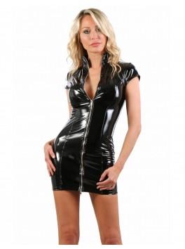 Robe moulante col et manches courtes vinyle noir