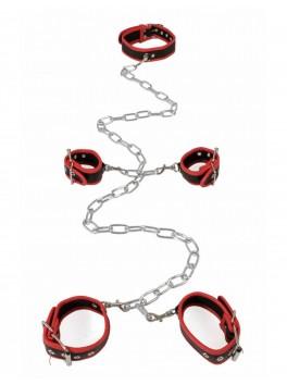 Complet Set rouge amovible Collier menottes chevilles et poignets