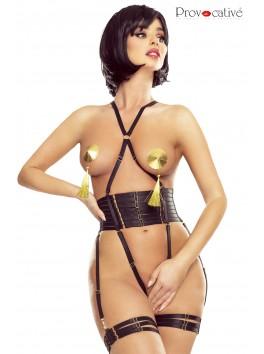 Body porte jarretelles, jarretières harnais satinés noir PR1624