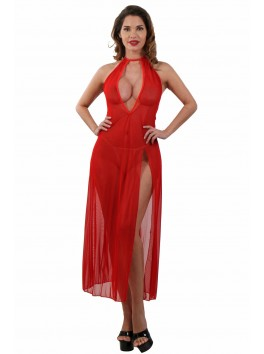 Robe Déshabillé long transparent Rouge