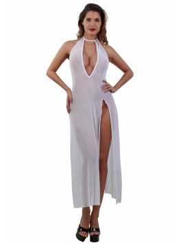 Robe Déshabillé long transparent Blanc
