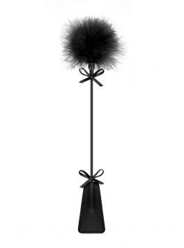Mini Cravache et plume Ponpons noir