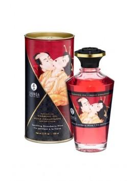 Huile chauffante Massage Aphrodisiaque Fraise vin pétillant