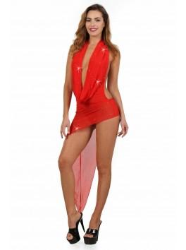 Robe rouge asymétrique long