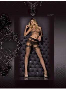 Collant nude effet couture et porte jarretelles noir et gris