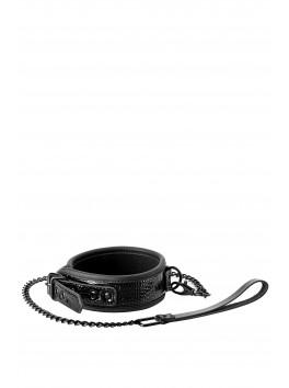 Collar Leash Croco Collier et laisse Noir effet peau de serpent
