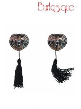 Nipple Gipsy coeur sequin Argenté et pompon noir Réutilisable