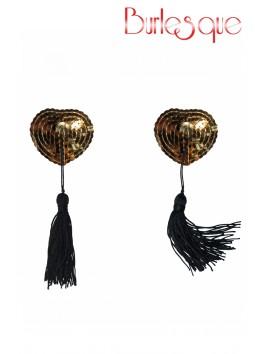 Nipple Gipsy coeur sequin Or et pompon noir Réutilisable