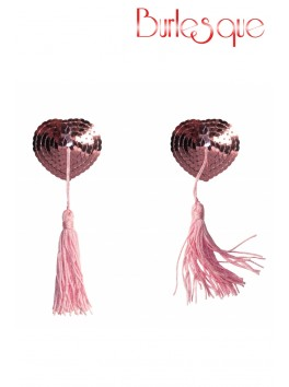 Nipple Gipsy coeur sequin Rose et pompon noir Réutilisable