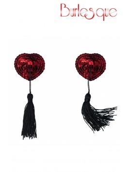 Nipple Gipsy coeur sequin Rouge et pompon noir Réutilisable