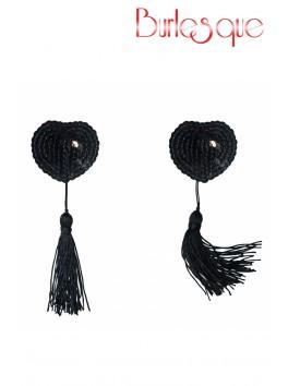 Nipple Gipsy coeur sequin Noir et pompon Noir Réutilisable