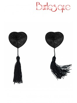 Nipple Evans coeur noir à pompon et mini strass Noir Réutilisable