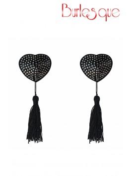 Nipple Evans coeur noir à pompon et mini strass Argenté Réutilisable