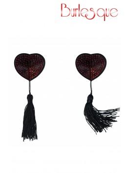 Nipple Evans coeur noir à pompon et mini strass Rouge Réutilisable
