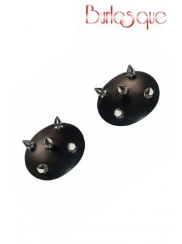 Nipple Royce effet cuir noir et pics métal argenté Réutilisable