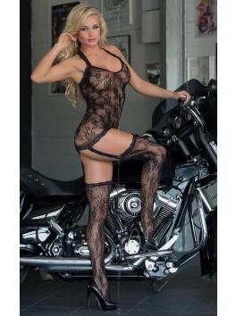 Crazy bodystocking noir motif fleur effet guêpière