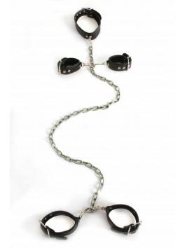 Complet Set noir amovible Collier menottes chevilles et poignets
