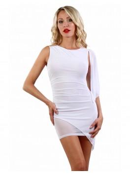 Robe blanche double micro résille une manche voile