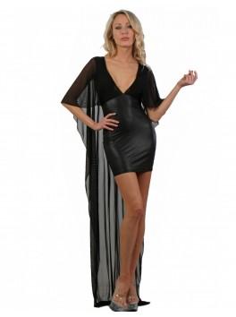 Robe courte wetlook et longue au dos en micro résille