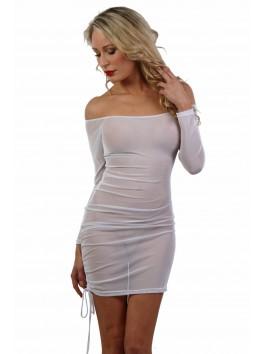 Robe blanche micro résille transparente