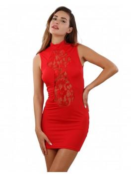 Robe opaque rouge dentelle devant
