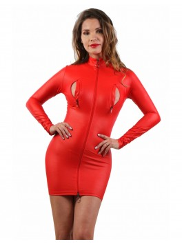 Robe effet cuir rouge manche longue et zip
