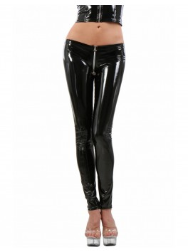 Legging vinyle noir zip entre jambes
