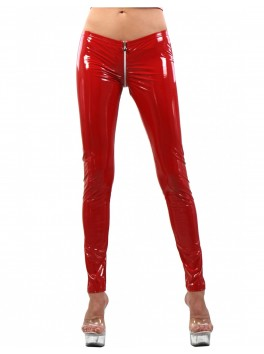 Legging vinyle rouge zip entre jambes