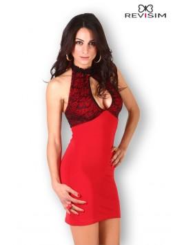 Robe rouge dentelle noire décolletée