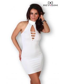 Robe blanche col montant et décolleté sexy