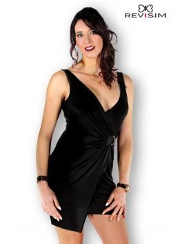 Cloé Robe noire croisée devant et dos nu